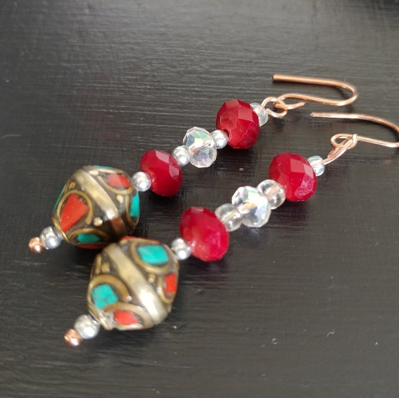 Addyrose Creations Jewelry - Red & blue turquoise dangle earrings
